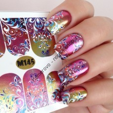 Наклейка для дизайна ногтей, Fashion Nails, металлик, градиент