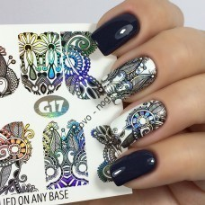 Наклейка для дизайна ногтей, Fashion Nails, металлик, орнамент, градиент